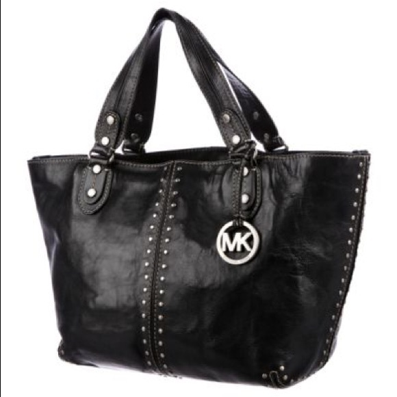6c126ad21fef Michael Kors Bags | White Studded Handle Leather Purse | Poshmark